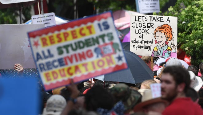 Buncombe County and Asheville City Schools teachers joined thousands of fellow educators and supporters in Raleigh for the March for Students, Rally for Respect on Wednesday, May 16, 2018.