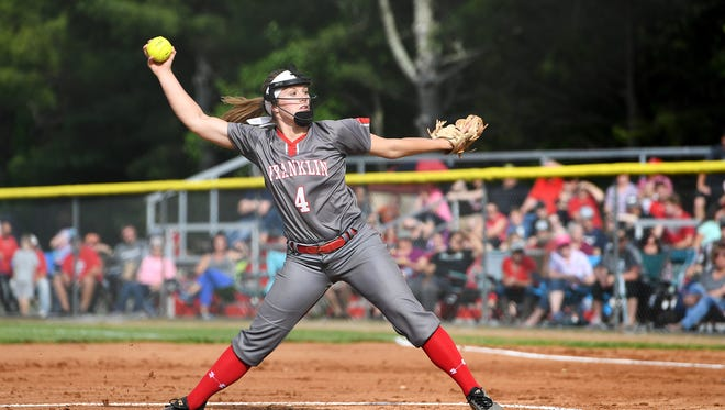 Franklin's Haeli Bryson in the fourth round of the NCHSAA State Championship playoffs against Foard at Macon Middle School on Friday, May 18, 2018. The Lady Panthers defeated the Tigers 4-3 and will advance to face Bunker Hill in the regional round.