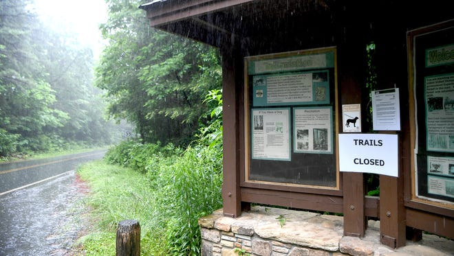 All of the trails in the Bent Creek Experimental Forest were closed by the U.S. Forest Service until at least Friday, June 1 due to prolonged heavy rains.