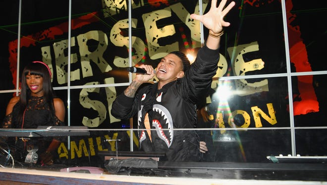 """NEW YORK, NY - APRIL 04:  DJ Kiss (L) and television personality Paul 'Pauly D' DelVecchio appear onstage during MTV's """"Jersey Shore Family Vacation"""" New York premiere party at PHD at the Dream Downtown on April 4, 2018 in New York City.  (Photo by Dave Kotinsky/Getty Images for MTV)"""