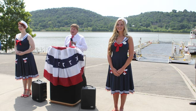 Full House Resorts CEO Dan Lee announces the name of the ferry between Rising Sun, Indiana, and Rabbit Hash, Kentucky, on Thursday July 12, 2018. The ferry was named the MS Lucky Lady.