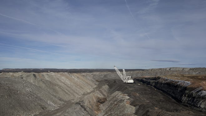 A dragline removes overburden in pit J19, February 2, 2017, at the Kayenta Mine.