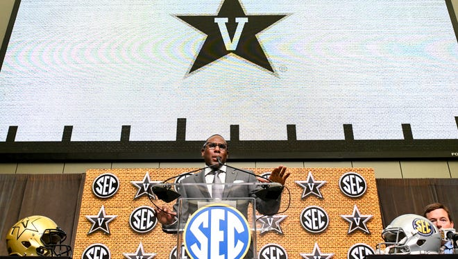 NCAA college football head coach Derek Mason of Vanderbilt speaks during the Southeastern Conference Media Days at the College Football Hall of Fame in Atlanta, Thursday, July 19, 2018.