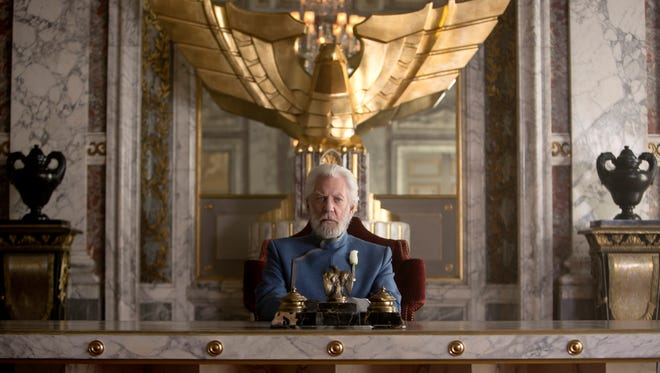 "Donald Sutherland portrays President Snow in a scene from ""The Hunger Games: Mockingjay -- Part 1."""