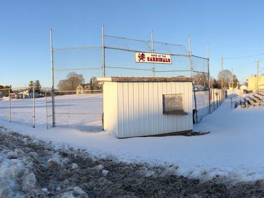 The baseball field at Onaway High School is covered by a blanket of snow which fell over the past week. The Cardinals probably won't be able to play there until May.