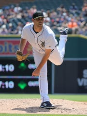 Matthew Boyd delivers a pitch Monday.