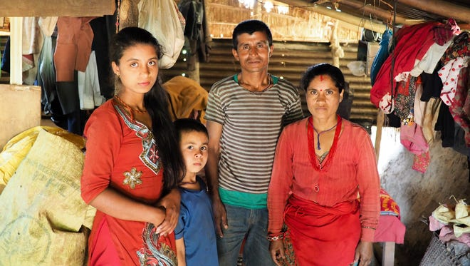 The Pandey family has been living in cramped shelter since an earthquake destroyed their home one year ago.