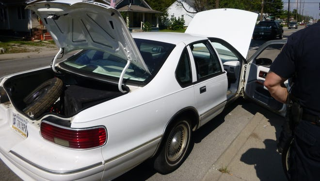 The driver of this car was arrested on Friday, Sept. 23, and faces drug-related charges, Indianapolis police said.