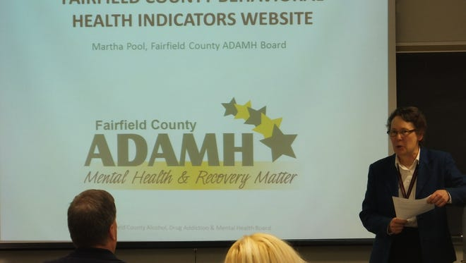 Martha Pool, administrative and research assistant at the Fairfield County ADAMH Board, speaks at the Harold Rogers Perscription Drug Monitoring Grant celebration on Nov. 16.