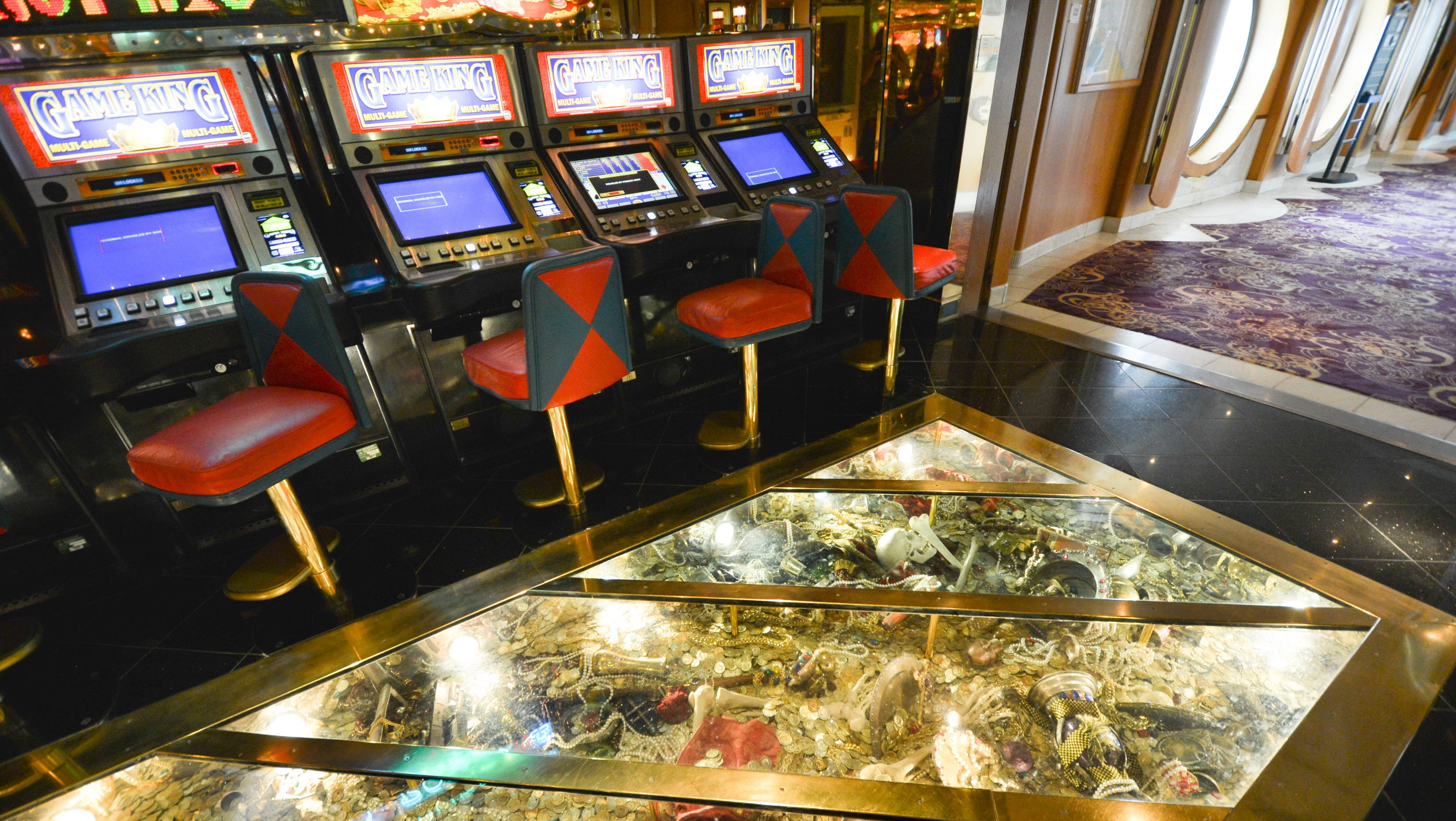 """A glass floor in the Casino Royale offers a view down to """"treasures."""""""