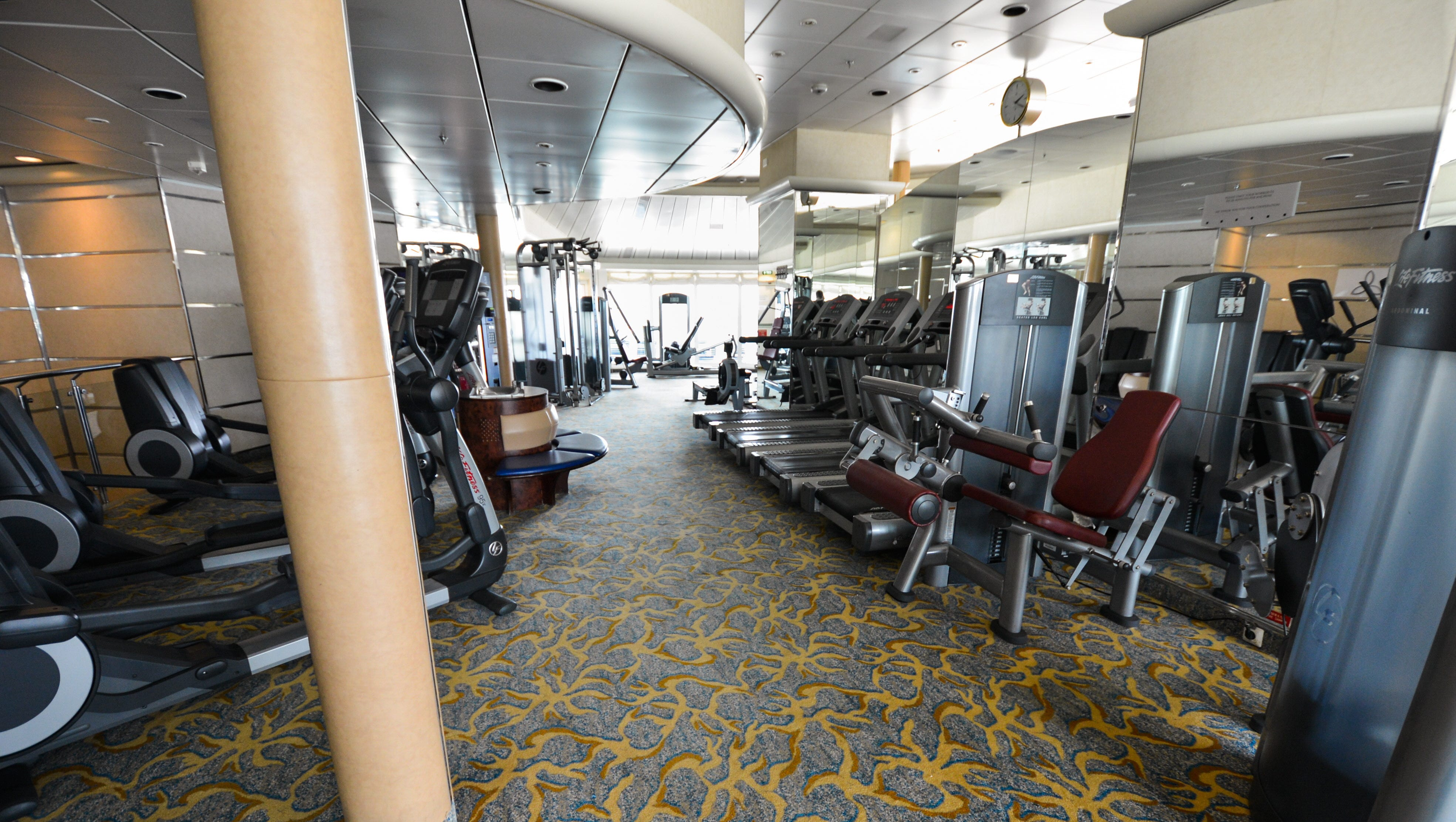 The fitness area of the Vitality Spa & Fitness Center features free weights, weight machines and a wide array of cardio equipment.