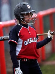 Oakland's Abby Sargent on deck against Holtville at Oakland Friday, March 29, 2013.