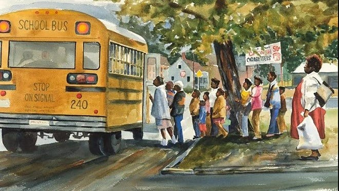 "This watercolor - ""Bus Stop"" - was painted by Richard Low Evans.  It is part of the current W.W. Law Art Collection exhibit at the Beach Institute through Jan. 30, 2021."