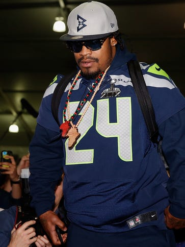 Seahawks RB Marshawn Lynch conducted his final media