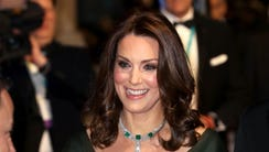 The Duchess wore green Jenny Packham to the BAFTAs.