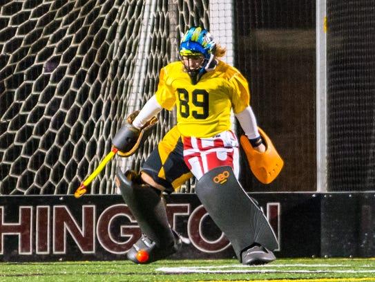 Pocomoke goalkeeper Domanique Farrace (89) makes a