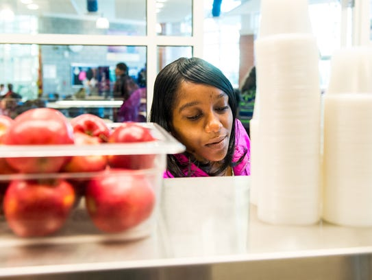 A Pocomoke student grabs breakfast at Pocomoke High