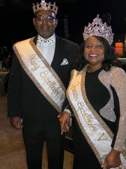 """Mystic Krewe of Excellence-NatchitochesKing V Carlos Donaway and Queen Cathy McClinton Chester at the Sobek Grand Ball. They  reigned last night at the Excellence Ball, """"Mardi Gras at the Cotton Club."""""""