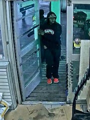 Police released this photo of an unknown suspect who trashed the BP gas station in the 18500 block of W. Seven Mile when he did not get the free items he demanded.