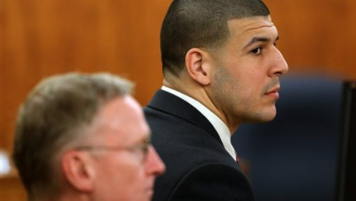 Former New England Patriots NFL football player Aaron Hernandez, right, sits besides his attorney Charles Rankin during deliberations in his murder trial, Tuesday, April 14, 2015, at Bristol County Superior Court in Fall River, Mass. Hernandez is accused of killing Odin Lloyd in June 2013. (David L. Ryan/The Boston Globe via AP, Pool)