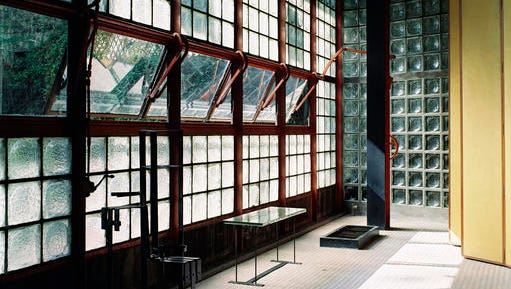 """This undated photo provided by the Jewish Museum shows Pierre Chareau's (French, 1883-1950) and Bernard Bijvoet's (Dutch, 1889-1979), glass house Maison de Verre. The photo is part of the exhibition """"Pierre Chareau: Modern Architecture and Design,"""" at The Jewish Museum in New York."""