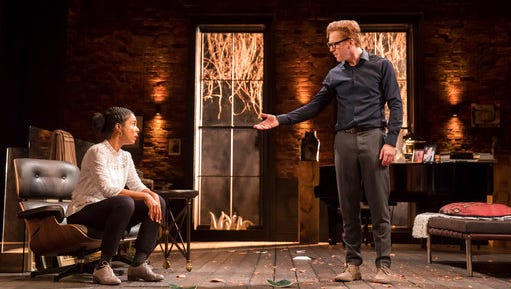 "In this handout photo made available on Thursday, April 6, 2017, Damian Lewis and Sophie Okonedo act in the play 'The Goat' in London. Damian Lewis is back on the London stage in Edward Albee's ""The Goat, Or Who is Sylvia,"" a tragicomedy about a happily married architect struck by a sudden passion for a farmyard animal. An emotionally draining exploration of love and the limits of tolerance, the play drew laughter and shocked gasps from its opening-night audience Wednesday, April 5, 2017."