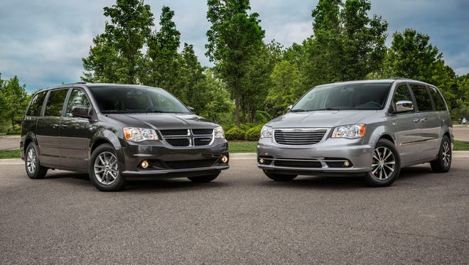 Chrysler offers two minivans, the Dodge Grand Caravan and Chrysler Town and Country, seen here as 30th Anniversary Editions