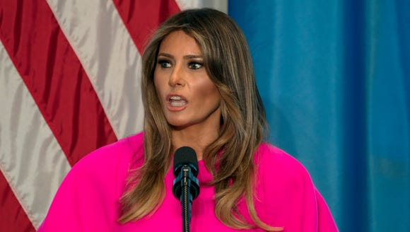 First lady Melania Trump addresses a luncheon at the
