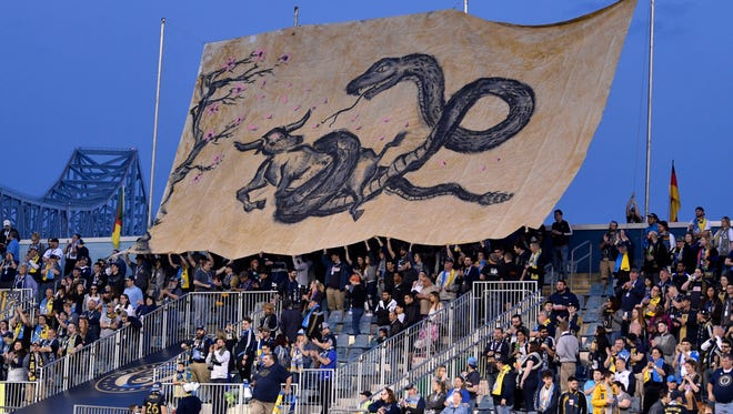 April 6, 2019: Philadelphia Union fans display a tifo during the first half against the FC Dallas at Talen Energy Stadium. Philadlephia won the game, 2-1.