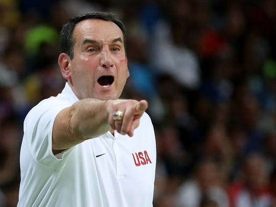 Head coach Mike Krzyzewski of the United States shouts during the Men's Basketball Semifinal match against Spain at the Rio 2016 Olympic Games. Valley Voice writer Samm Coombs urges people to take a timeout, as in basketball, to regroup when life throws you a curve ball.