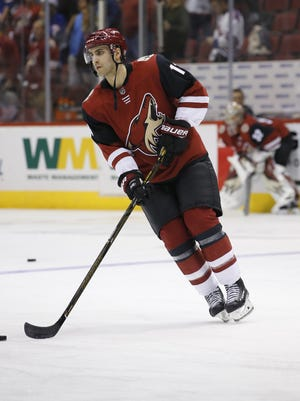 Arizona Coyotes forward Freddie Hamilton (13), whom the Coyotes claimed off waivers from the Calgary Flames on Thursday, skates before a NHL game between the Coyotes and New York Rangers at the Gila River Arena in Glendale, Az., Saturday, January 6, 2018.