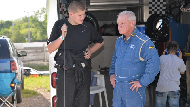 Grant Griesbach (left) chats with Waukesha's Conrad Morgan at Slinger Super Speedway.