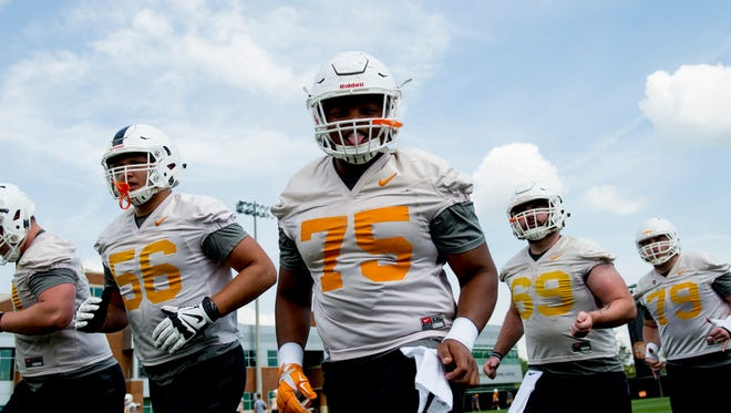 Jashon Robertson (75) and the rest of the Vols' offensive line could be the determining factor against Georgia Tech.