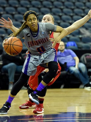Camary Williams of Evansville drives to the basket during the first quarter of the game against Illinois State at the Ford Center in Evansville Sunday.  Evansville got their third straight win with a 60-56 win Sunday.