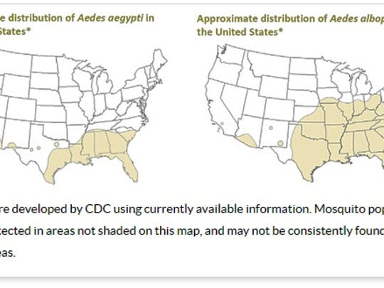 Mosquito populations may be detected in areas not shaded on this map.
