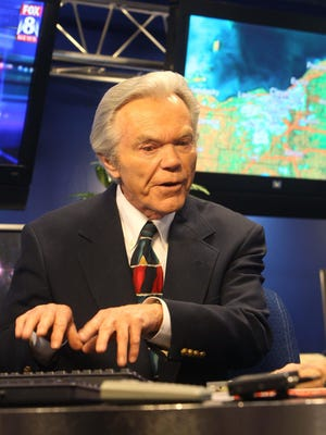 Dick Goddard talks about his new book and long broadcasting career at the WJW studios on May 24, 2011, in Cleveland.