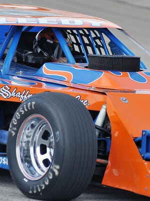 One of the cars due to race on Sunday gets some practice in at Spitzer Motor Speedway on Thursday.