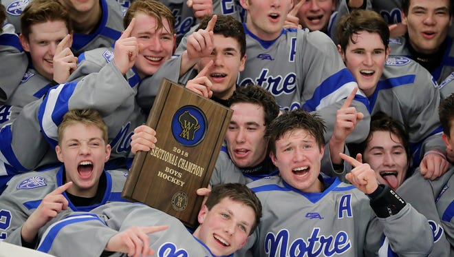 Green Bay Notre Dame players celebrate after defeating Neenah 6-4 in a WIAA hockey sectional final Friday at the Cornerstone Community Center in Ashwaubenon.