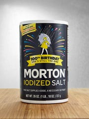 The anniversary edition of Morton Salt containers.