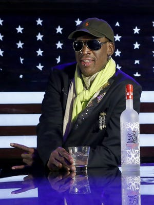 Dennis Rodman poses during a promotion for his vodka company Thursday in Chicago.