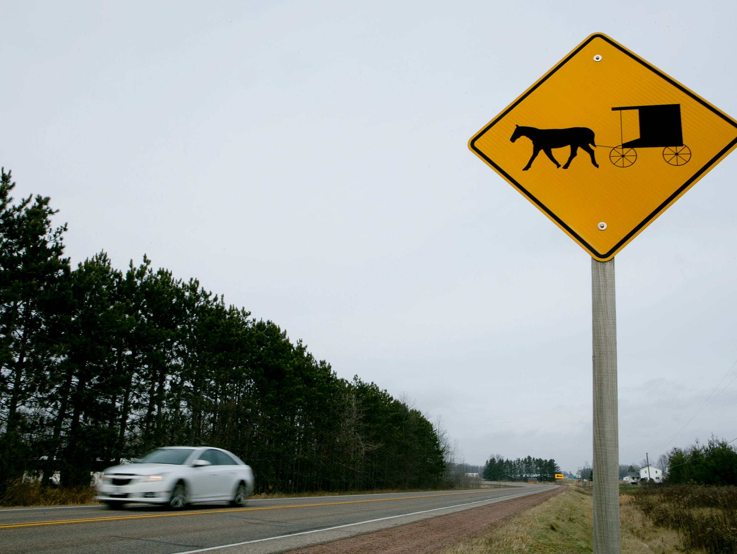 A horse and buggy warning sign is seen on Highway 186