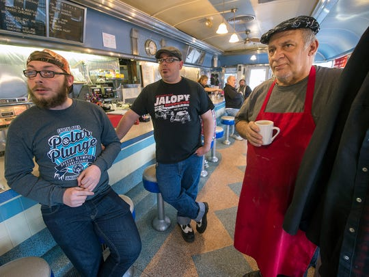 From the left John Sutherland, Jason Hoeltzle and Omar Ilayan at Lee's Diner in Wes Manchester Township Sunday January 21, 2018