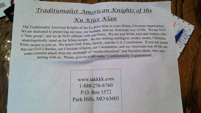 Fliers passed out in Prattville, Ala., stated they were from the Traditionalist American Knights of the Ku Klux Klan, based in Park Hills, Mo.