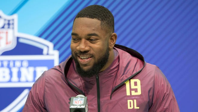 Fort Hays State defensive lineman Nathan Shepherd speaks to the media during the 2018 NFL Combine at the Indianapolis Convention Center on March 3, 2018.