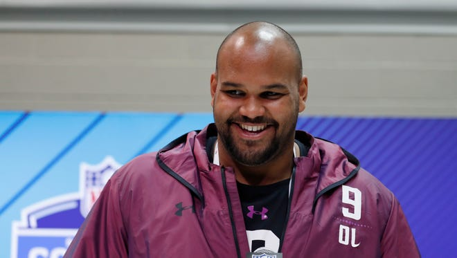 Oregon offensive lineman Tyrell Crosby speaks to the media during the 2018 NFL combine. The Detroit Lions drafted him in the fifth round.
