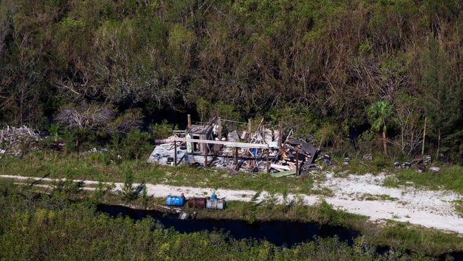 Aerial view just outside of Everglades City on Saturday, Sept. 16, 2017, six days after Hurricane Irma.