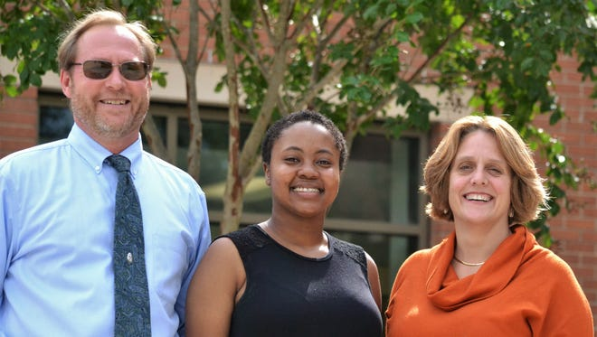 Tom Peters, executive director of the South Carolina Coalition for Mathematics and Science, Tiera Green, a sophomore engineering student at Clemson Unviersity, and Eliza Gallagher, an assistant professor in Clemson's engineering and science education department, are working together on a state-wide study looking into the effects of calculus courses on students pursuing engineering degrees.