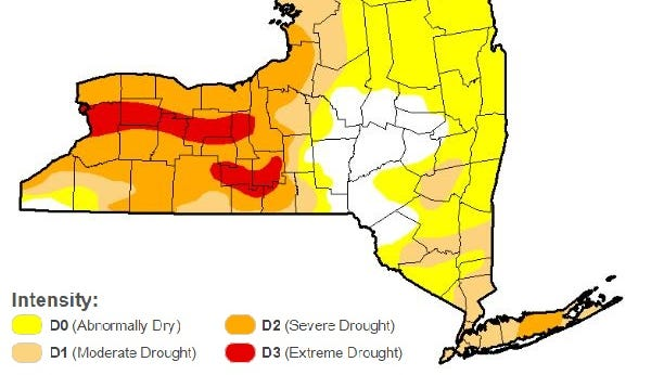 U.S. Drought Monitor report for New York as of August 16, 2016.