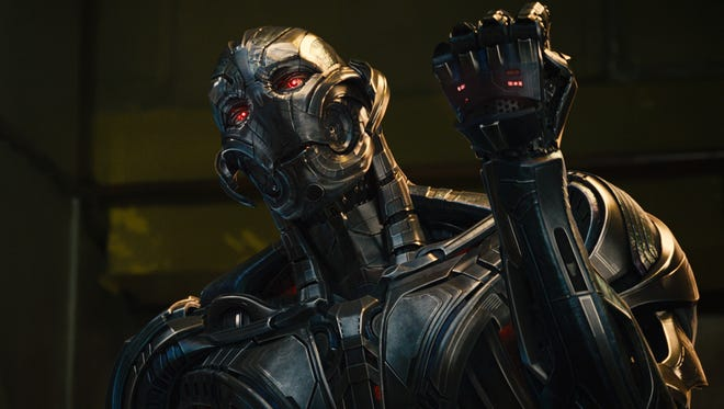 "Ultron (James Spader) threatens the Earth in ""Avengers: Age of Ultron."""