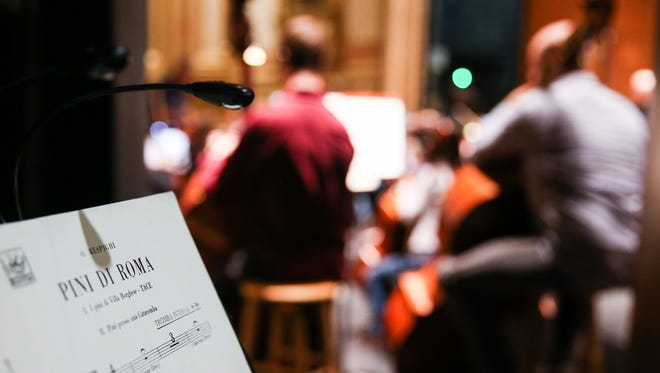 """The San Angelo Symphony members practice for """"The Return"""" concert Saturday, Oct. 7, 2017, at the Murphey Performance Hall."""